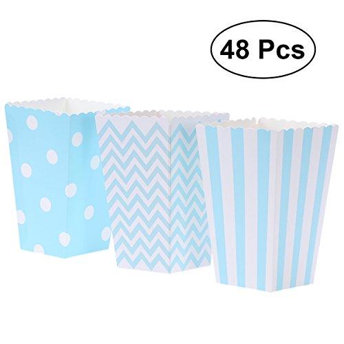 Popcorn Tüten Blau,48 PC-Pappe-Süßigkeit-Behälter für Karneval-Partei-Film