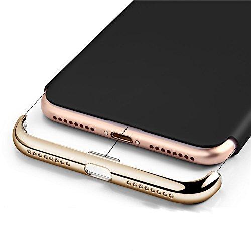 Apple iPhone 7Plus Cover adamark 3in 1Non Slip superficie antiurto Custodia Electro placcatura contatti consistenza Protector Disk Cover per Apple Iphone 7Plus Custodia Rigida Case Cover, nero nero