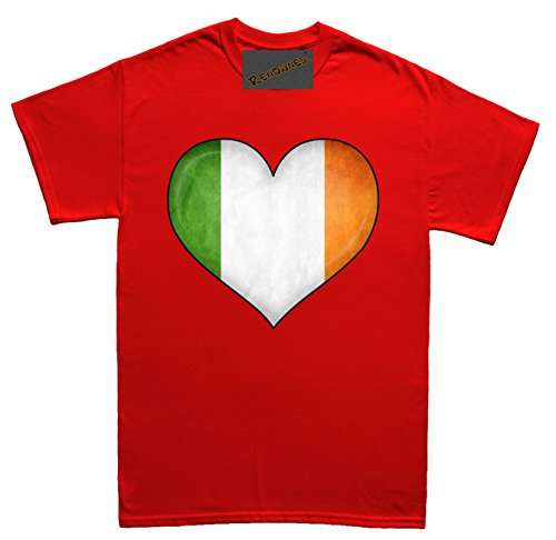 Renowned Irish Flag inside love heart 3D Unisex - Kinder T Shirt Rot