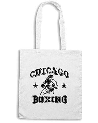 T-Shirtshock - Borsa Shopping TBOXE0013 chicago boxing white Bianco