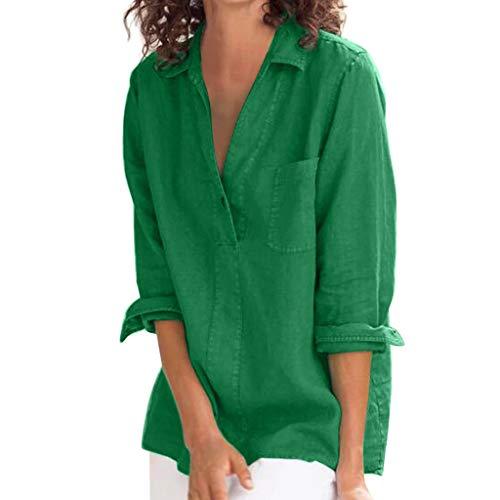 Geilisungren Langarmshirt Damen Herbst Locker Einfarbige Tasche T-Shirt Große Größen Tunika Tops Elegant Umlegekragen Bluse V Ausschnitt Oberteile