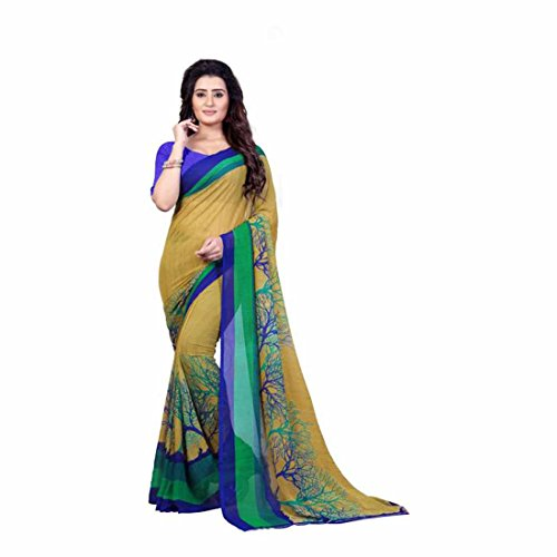 Printed Fashion Faux Georgette Saree (Green) Faux Georgette Saree