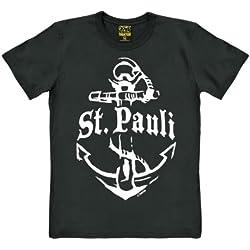 Camiseta St. Pauli - Sankt Pauli - Hamburgo - Camiseta Ancla - Camiseta de Culto - Camiseta con cuello redondo - Negro - Camiseta original de la marca TRAKTOR®, talla XL