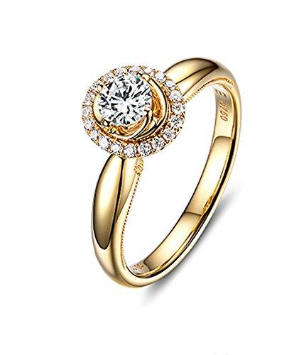 DOLOVE Herren Unisex Damen - Gold 18 Karat (750) 18 Karat (750) Gelbgold Rund White Diamant (Gelber Princess-cut Diamant-ring)