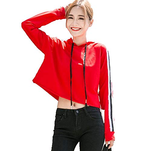 Kapuzen Xl Sweatshirt Jersey (DAMENGXIANG Frauen Lose Lose Bauchnabel Langärmelige Sweatshirt T-Shirt Modische Kurze Kappe Mit Kapuze Jersey. Gues XL)