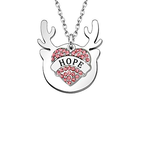 Collar con colgante de ciervo de plata y cristal de corazón multicapa para regalo de mujer