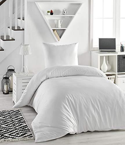 Melunda 2 TLG. Mako Satin Bettwäsche Set | Bettdeckenbezug 155x200 cm, mit Kopfkissenbezug 80x80 cm | Weiß | 2 teilig Bettgarnitur | Baumwolle Bettbezug mit Reißverschluss | Oeko-TEX®