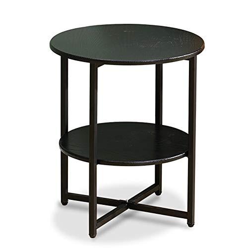 SQIHUI Eisen Schwarzer Runder Couchtisch Massivholztisch Einfache Art Und Weise Wohnzimmer Doppelboden Beistelltisch