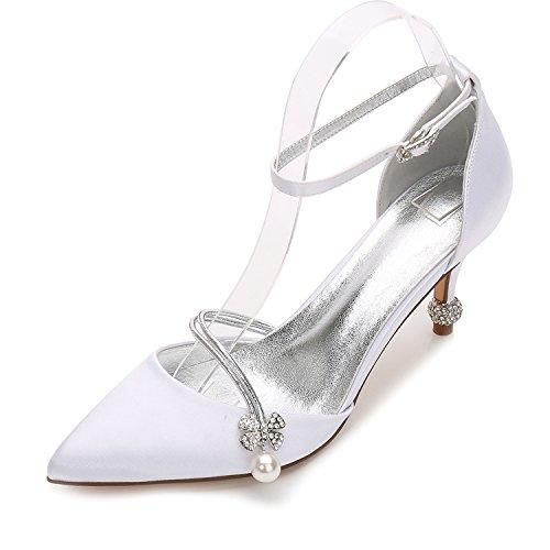 Hochzeit Schuhe Damen High Heels Satin Spitze Karneval Künstliche perlen Pumps Mary Jane Halbschuhe Brauen by MarHermoso Weiß
