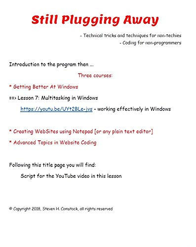 Multi-tasking in Windows: How to keep multiple apps up and switch between them. (Still Plugging Away - Windows Book 7) (English Edition) - Für 7 Kindle-app Windows