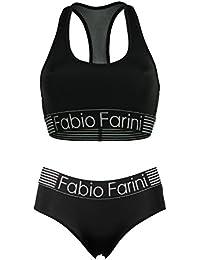 Fabio Farini set sportif avec soutien-gorge bralette racerback et culotte en noir ou bleu foncé