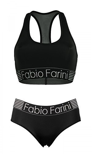 Fabio Farini set sportif avec soutien-gorge bralette racerback et culotte en noir ou bleu foncé Noir