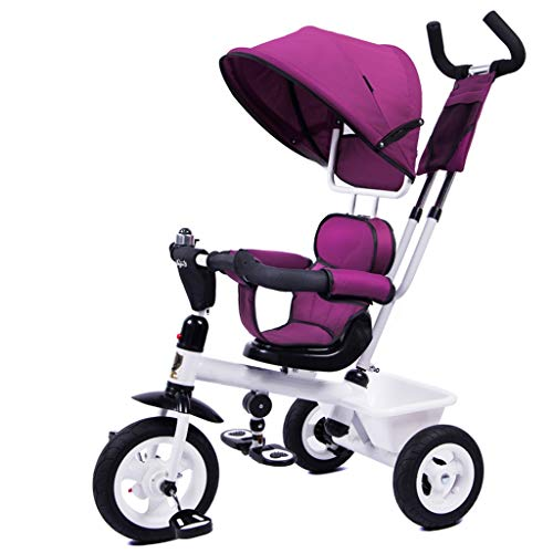 Passeggini e Carrozzine 4-in-1 Passeggino, Regolabile Sedile Cintura Pieghevole Pedal Storage Bag Freni Assorbimento Shock Design Prima Infanzia Passeggini Carrozzine (Color : Purple)