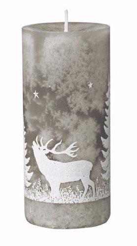 Foresta mit Hirsch durchgefärbte Stumpen Kerzen Weihnachtskerzen 12 x 5,5 cm Stein