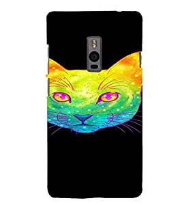 PrintVisa Cute Colorful Cat Design 3D Hard Polycarbonate Designer Back Case Cover for One Plus Two