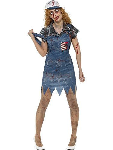 Smiffys Herren Zombie Hinterwäldler Kostüm, Latzhose mit angebrachten Latex Rippen, Oberteil und Baseball Kappe, Größe: L, 46854