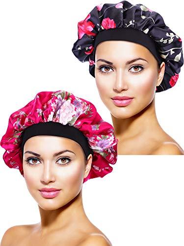 2 Stücke Satin Bonnet Nacht Schlaf Mütze Schlaf Kopf Abdeckung für Damen Mädchen Schlafen (Schwarze Blume Gedruckt, Rose Rot Blume Gedruckt) -