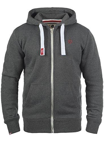 !Solid BennZip Herren Sweatjacke Kapuzenjacke Hoodie Mit Kapuze Reißverschluss Und Fleece-Innenseite, Größe:L, Farbe:Med Grey (8254)