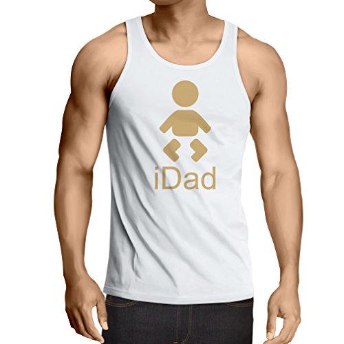 Canottiera da uomo senza maniche IDAD Best Dad mai regali per lui giorno padre regali Blanc Or