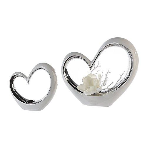 Casablanca Vase Little Love weiß/silber B 32 cm 2er Set B 32 x H 27 x L 8 cm Keramik in Herzform