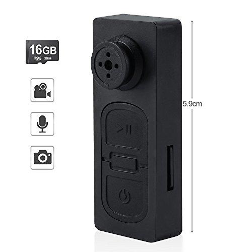 TEKMAGIC 16GB Mini Versteckte Spionage Knopfkamera Micro Spycam Diktiergerät mit Ton und Akku
