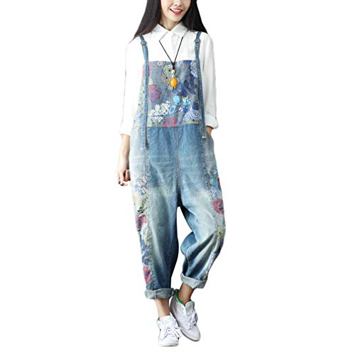 YuanDian Damen Latzjeans Weites Bein Große Größen Denim Latzhose Overalls Strampler Jeans Boyfriend Loose Fit Umstands Schwangerschaft übergroße Jumpsuits Hose 15# Blau