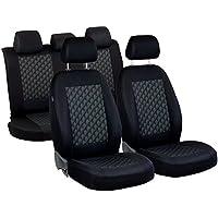 Almera Fundas de asiento–1set–Producto Premium Negro Efecto 3d