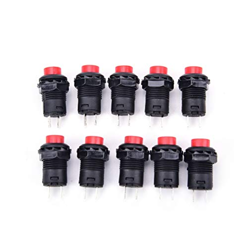 Switches - Red Black Ds 228 428 Self Locking Switch Normal Open No 12mm Round Control 10pcs - Switch Lights Pressure Cover Outlet Water Lamp Replacement Automatic Panel Touch Element Electric -