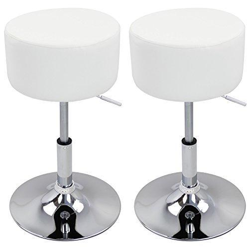 Woltu bh14ws-2 - set di 2 sgabelli di design con manici, in acciaio cromato e similpelle, seduta imbottita, colore: bianco