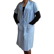 Fratelliditalia - Camisa de mujer, bata de maestra, de algodón, mujer, azul