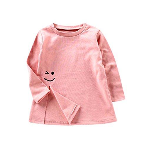 Ursing Kleinkind Kinder Baby Mädchen Lange Ärmel Gemütlich Baumwolle T-Shirt Lächeln Drucken Teilt Bluse Tops Hemdbluse Freizeithemd Mode Langarmshirt Pulloverhemd Babykleidung (80, Rose) (Tee Kleinkind Rosa)