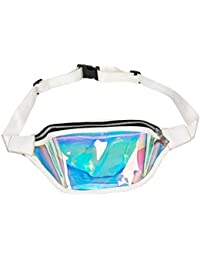 Women Shiny Wasit Bag Fashion Reflective Chest Bag Outdoor Sports Travel Bags (White)