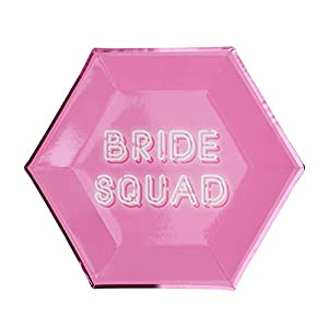 Neviti- Bride Squad-Paper Plate-8 Pack Papel, Color rosa, 27 x 27 x 0.5 (775943)