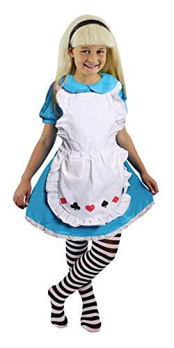 ILOVEFANCYDRESS Alice Kinder Wunderland KOSTÜME Verkleidung+WEIßEN SCHÜRZE=Herz-Pick-Karo-Kreuz =mit+Ohne ZUBEHÖR=4 GRÖßEN=Large -Ohne Strumpfhose