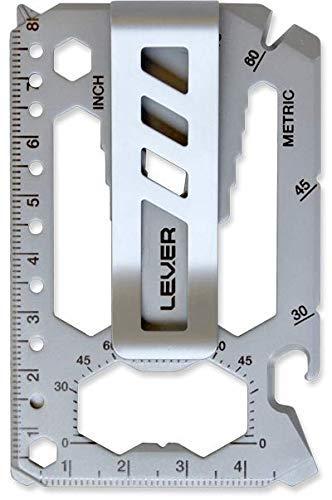 Lever Gear Toolcard Pro mit Geldscheinklammer - 40 in 1 Kreditkarten-Multitool. Schlankes, minimalistisches Multitool für die Geldbörse aus Edelstahl - Perlenstrahlen-Silber