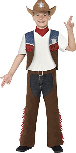 Smiffys 24666M - Jungen Cowboy Kostüm, Alter: 7-9 Jahre, Größe: M, braun (Alten Westen, Cowboys)