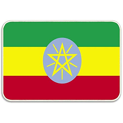 WHEYT Flagge von Äthiopien Fußmatteneingang Vordertürmatte Indoor Outdoor rutschfeste Gummiunterlage 40 x 60 cm