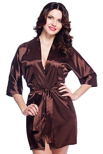 Edler Morgenmantel Kimono aus Satin Größen S-XXL (XL, VA63/Schokolade) (Schokolade Kimono)