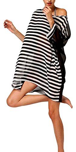 - 41ffYKAg2HL - Walant Damen Chiffon Streifen Strandkleid Bikinikleider Elegant