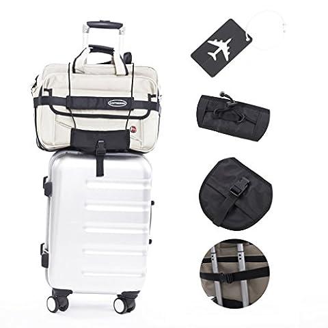 Cornasee bagages Sangles réglable Oxford Chiffon Ceinture avec verrouillage pour une poignée de chariot de valise bagages, noir