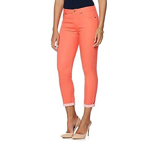 DG2 by Diane Gilman Skinny Jeans für Damen, Größe 10P, Petite Coral Pink Super Stretch Lite Cuff Cropped Skinny Jeans (Gilman Dg2 Diane)