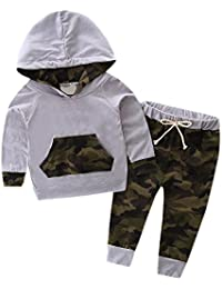 Covermason Bebé Unisex Manga larga Camuflaje Encapuchado Sudaderas y Impresión Pantalones