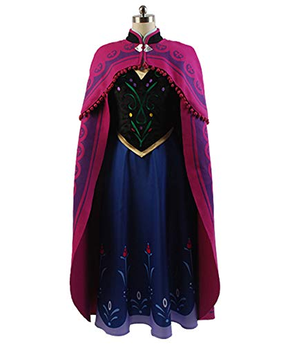 MingoTor Prinzessin Anna with Cloak Cosplay Kostüm Damen XXL (Gefrorene Prinzessin Anna Kostüm)