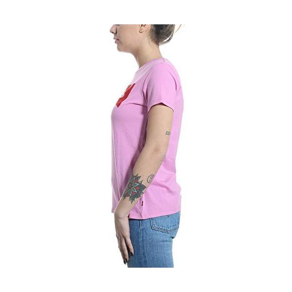 Levi's Camiseta Damen La Camiseta Flock Housemark Cyclamen Rosa