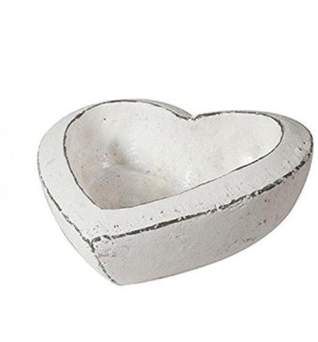 Keramik Herz Schale Pflanzherz weiss grau. Höhe 6,5cm, Durchmesser 16cm -