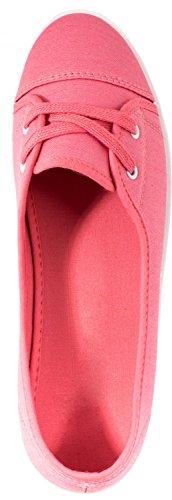 Elara Damen Ballerinas   Bequem Sportliche Slipper Slip-Ons   Freizeitschuhe Flats Pink
