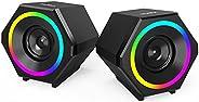 Computer Speakers,NJSJ H112 10W USB-Powered Gaming Speaker with Enhanced Clear Stereo Sound RGB LED Light,Volu