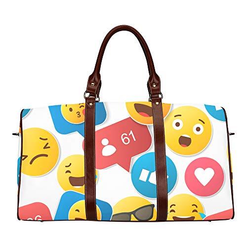 Travel Duffel Bag Endless Repeating Flache Emoji Emote Emoticon Emoticons wasserdichte Weekender Bag Übernacht Carryon Handtasche Frauen Damen Einkaufstasche Mit Mikrofaser Leder Gepäcktasche