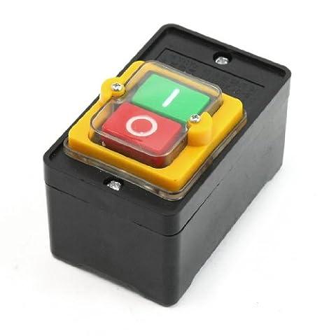 AC 380V 10A Waterproof Green I Red O Self Locking Push Button Switch