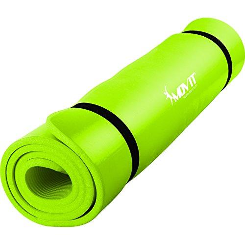 MOVIT Pilates Gymnastikmatte, Yogamatte, phthalatfrei, SGS geprüft, L 190cm x B 60cm, Stärke 1,5cm, Hellgrün R